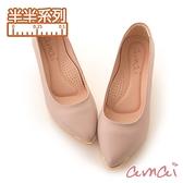 amai《半半系列》MIT台灣製造。羊皮尖頭金屬拼接粗跟鞋 粉
