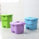 帶蓋加高加厚足浴桶 按摩保溫泡腳桶足浴盆 塑料手提洗腳桶洗腳盆 YDL