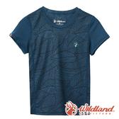 【wildland 荒野】中童 彈性棉感抗UV印花衫『灰藍』0A61660 T恤 上衣 休閒 戶外 登山 印花