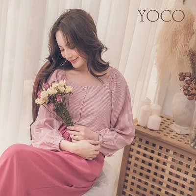 東京著衣【YOCO】自然輕肌方領條紋微澎袖上衣-S.M.L(181553)