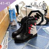 大尺碼女鞋-凱莉密碼-瘋時尚創意設計款手掌元素綁帶馬汀鞋3cm(41-43)【SS403】黑色
