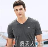 千紙鶴男裝短袖t恤男韓版夏季v領純色半袖衣服男士體恤衫潮流 「雙12購物節」