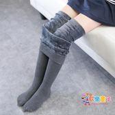 女童打底褲刷毛秋冬季外穿加厚兒童連褲襪寶寶打底襪白色舞蹈襪子