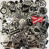 全館83折107張黑白潮牌行李箱貼紙防水個性涂鴉潮流手機殼電腦吉他貼紙