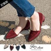 包鞋.絨質異材拼側挖空低跟包鞋-FM時尚美鞋-訂製款.firefly