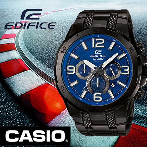 【僾瑪精品】CASIO EDIFICE 藍色時尚賽車三眼計時腕錶-49mm/EFR-538BK-2A