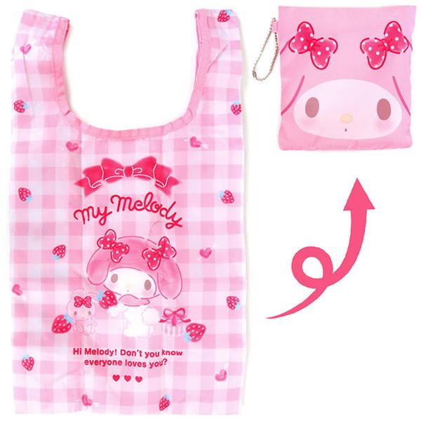 Sanrio 可折疊迷你環保購物袋 附收納袋 美樂蒂 草莓 粉白格子_324981