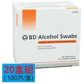 【醫康生活家】美國BD必帝酒精棉100片/盒(美國製造 )-20盒組