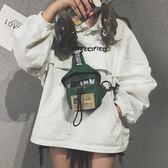 帆布小包包女潮韓版港風chic復古胸包側背斜挎蹦迪包  米菲良品