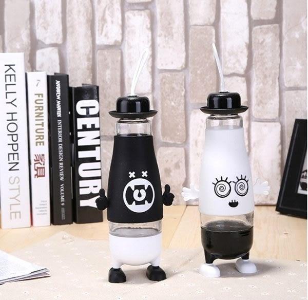 水杯   可愛表情創意帶腳便攜玻璃杯380ml 水瓶 瓶子 咖啡杯 隨行杯 水壺 【KCG113】-收納女王