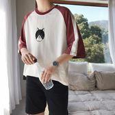 【新年鉅惠】2019夏季男士寬鬆圓領T恤印花短袖打底衫