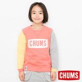 CHUMS 日本 童 LOGO 圓領套頭衫 彩拼紅 CH201019C011