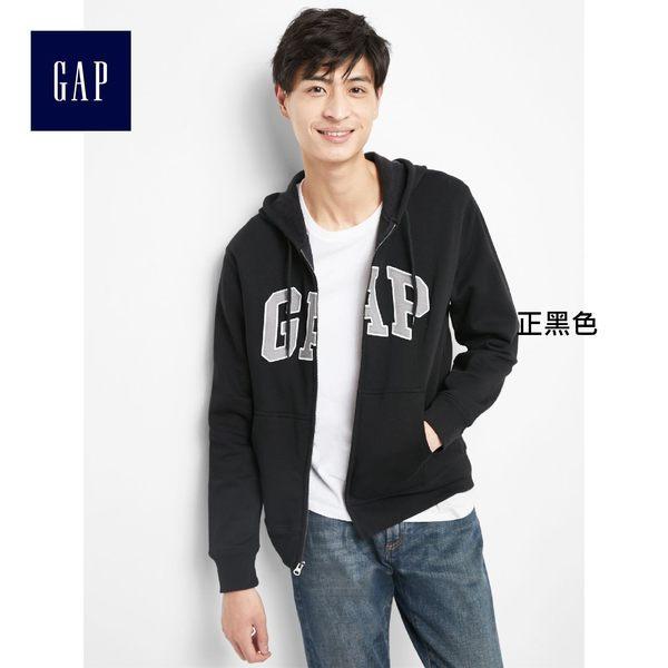Gap男裝 logo刷毛長袖男士連帽休閒外套 851516-正黑色
