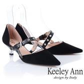 ★2019春夏★Keeley Ann慵懶盛夏 真皮金屬鉚釘細跟尖頭包鞋(黑色) -Ann系列