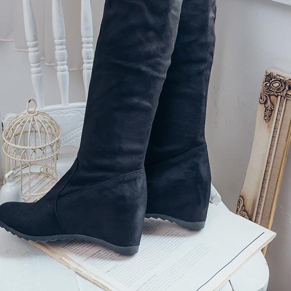 鞋子 麂皮鉤花內增高平底高筒過膝長靴-Ruby s 露比午茶