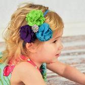 UNICO  歐美 兒童手工帶鑽布藝髮帶