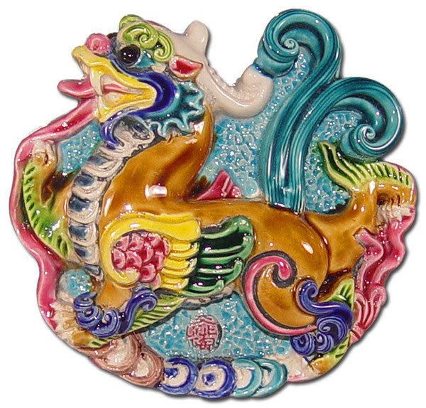 鹿港窯-居家開運商品-台灣國寶交趾陶裝飾壁飾-正方立體框【招財貔貅】免運費送到家