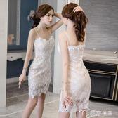 夜場女裝性感新款蕾絲吊帶連身裙女小心機夜店包臀氣質禮服裙     麥吉良品