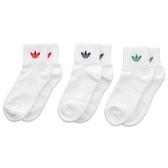 ADIDAS ORIGINALS 白底 紅藍綠 LOGO (三入) 襪子 中筒襪 (布魯克林) FM0642