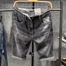 夏季彈力牛仔短褲男韓版薄款潮流男裝五分褲青少年百搭馬褲5分褲