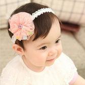 繽紛彩球紗花蕾絲髮帶 兒童髮飾 彈性髮帶 蕾絲髮帶