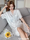 睡裙 2021睡裙女春夏季冰絲性感薄款白色襯衫網紅爆款中長款睡衣高級感 艾家