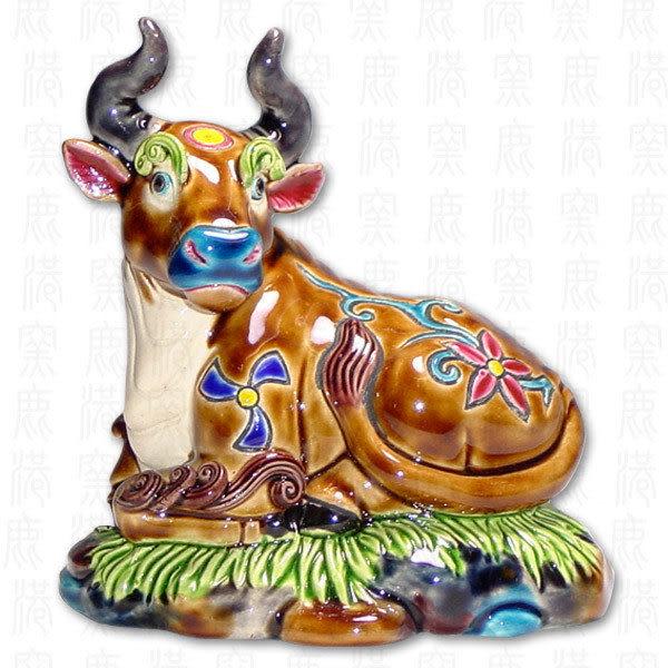 鹿港窯-居家開運商品-台灣國寶交趾陶S十二生肖文鎮-牛◆附精美包裝◆免運費送到家