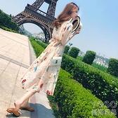 雪紡洋裝 【優質面料】印花雪紡連衣裙夏新款女裝韓版顯瘦溫柔風中長款裙子 快速出貨