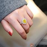 S925純銀歐美仿真鉆戒奢華方黃鉆女戒指創意個性夸張鴿子蛋結婚【淘夢屋】