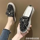 網紅拖鞋女外穿新款時尚百搭亮片水鑚涼拖懶人厚底包頭半拖鞋