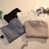 針織上衣 毛衣女2019秋冬新款百搭修身v領打底針織衫內搭套頭長袖緊身上衣