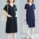 洋裝 中大尺碼 洋氣大碼女裝寬鬆韓版中長款夏裝200斤胖mm短袖T恤v領連身裙顯瘦
