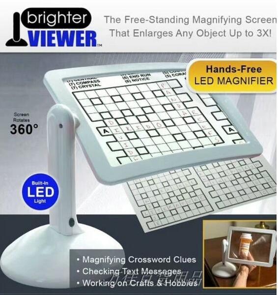 Brighter Viewer LED燈180度旋轉放大閱讀鏡支架放大屏大型放大鏡 【快速出貨】