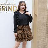 中大尺碼~個性氣質豹紋短裙(XL~4XL)