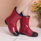 新款時尚中高筒雨鞋女春夏秋冬雨靴防滑水鞋可加絨襪保暖成人水靴 樂芙美鞋