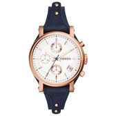 FOSSIL 輕快節奏計時腕錶-玫瑰金框x深藍皮帶