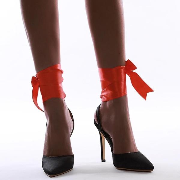促銷九折 速賣通 Sky-high shoes 歐美新款百搭拼色絲帶12厘米高跟涼鞋