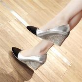 職業鞋春秋季新款尖頭淺口單鞋女坡跟高跟鞋辦公正裝大碼四季職業工作鞋-大小姐韓風館
