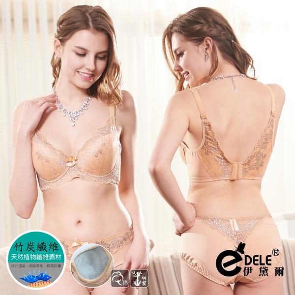法式女伶浪漫蕾絲提托包覆成套內衣褲B-D罩32-40(金膚) - 伊黛爾