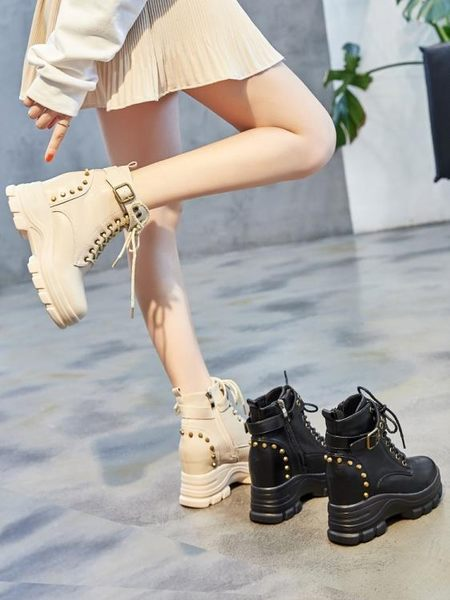 短靴 英倫風馬丁靴女鞋秋冬季新款內增高跟厚底網紅百搭瘦瘦短靴子