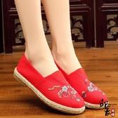 中國風繡花鞋時尚平底布鞋休閒復古圓頭女單鞋 降價兩天
