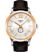 TISSOT 天梭 T-Gold Classic 小秒針機械手錶-咖啡 T9124284603800