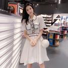 VK精品服飾 韓國風氣質POLO領淑女清爽歐根紗短袖洋裝