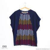 【INI】夏日雪紡、寬版撞色豎條配色雪紡上衣.深藍色