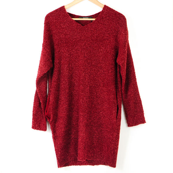 【MASTINA】泰迪熊Q毛雙口袋上衣-紅  冬末好康
