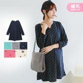 *蔓蒂小舖孕婦裝【M8332】*台灣製.哺乳.V領點點/星星滿版圖案洋裝