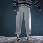 秋季新款復古水洗牛仔褲韓版寬鬆直筒潮長褲子男生英文印花哈倫褲