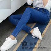 牛仔長褲/夏季女韓版緊身高腰顯瘦百搭春淺色鉛筆小腳褲子「歐洲站」