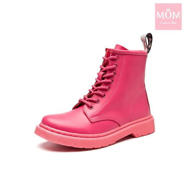 歐美經典款8孔綁帶真皮馬丁靴 短靴 工程靴 玫紅 *MOM*