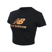 NEW BALANCE 女短版短袖T恤(休閒 上衣 NB≡體院≡ WT13503BK